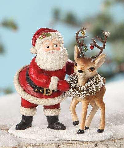 retro santa with reindeer figurine by bethany lowe