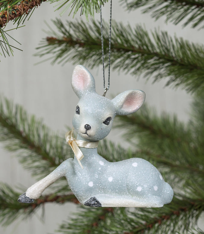 Retro Resting Blue Deer Ornament