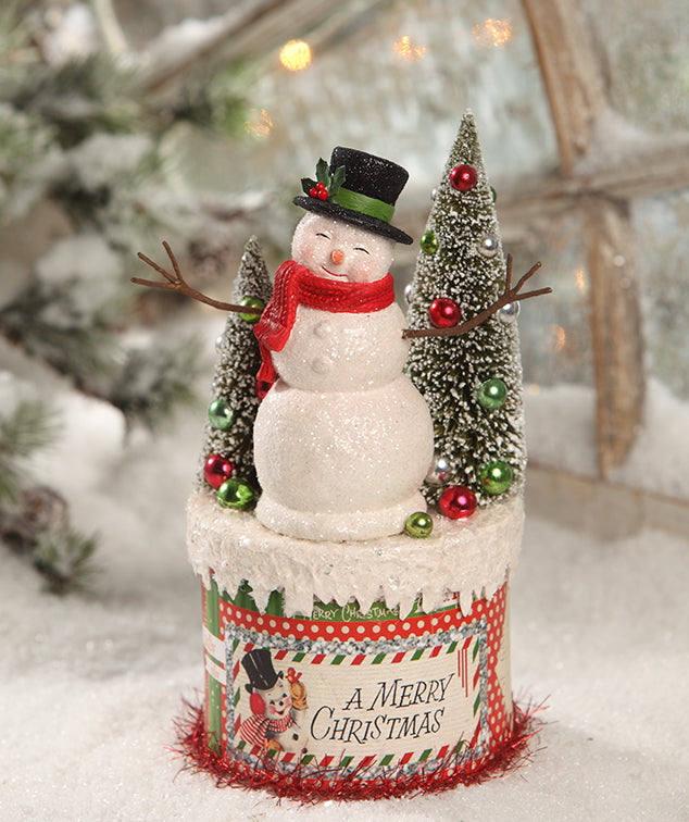 Retro Snowman on Box by Bethany Lowe Christmas