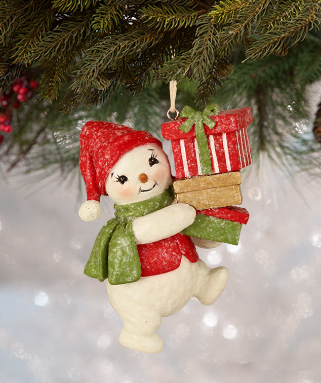Retro Snowman with Gifts Ornaments