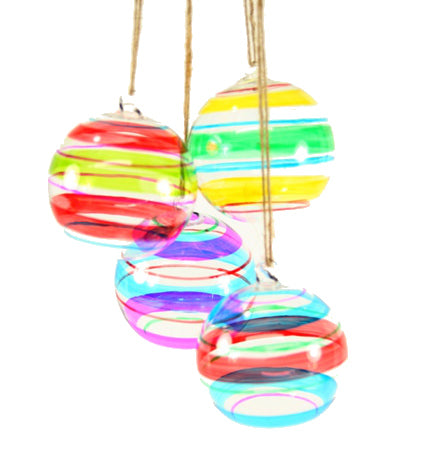 Retro Stripe Glass Ball Ornaments