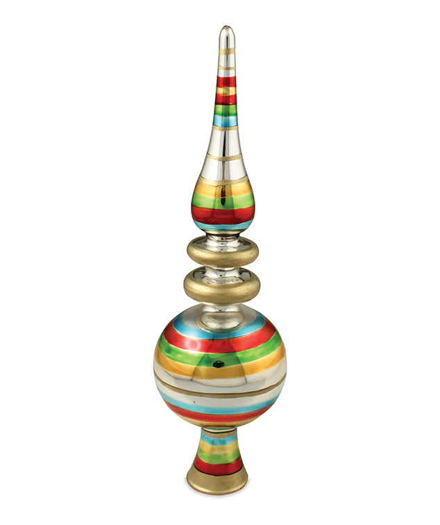 Retro Striped Glass Tree Topper - Christmas Finial