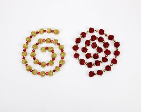 Retro Tinsel Pom Pom Garland, Red or Gold