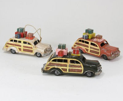 Retro Woody Station Wagon with Gifts Ornament