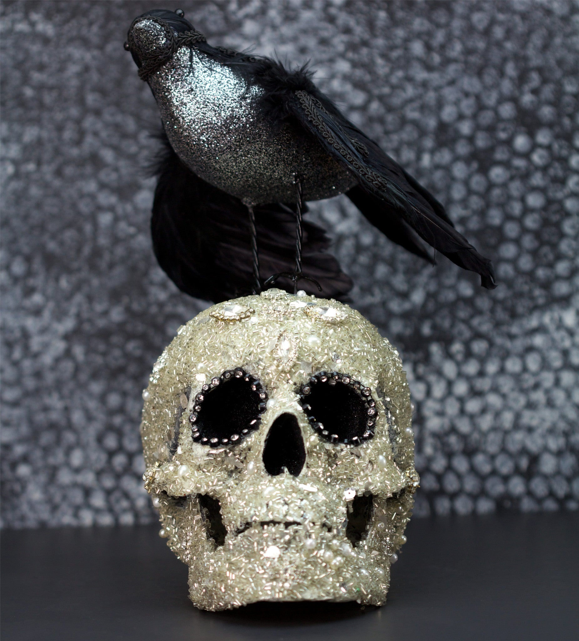 Rhinestone Skull with Crow - Katherine's Collection