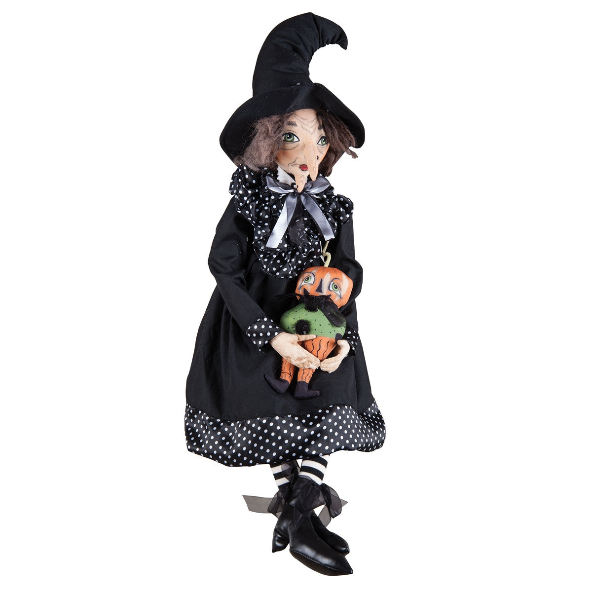 Joe Spencer Rosalea Witch with Pumpkin Doll