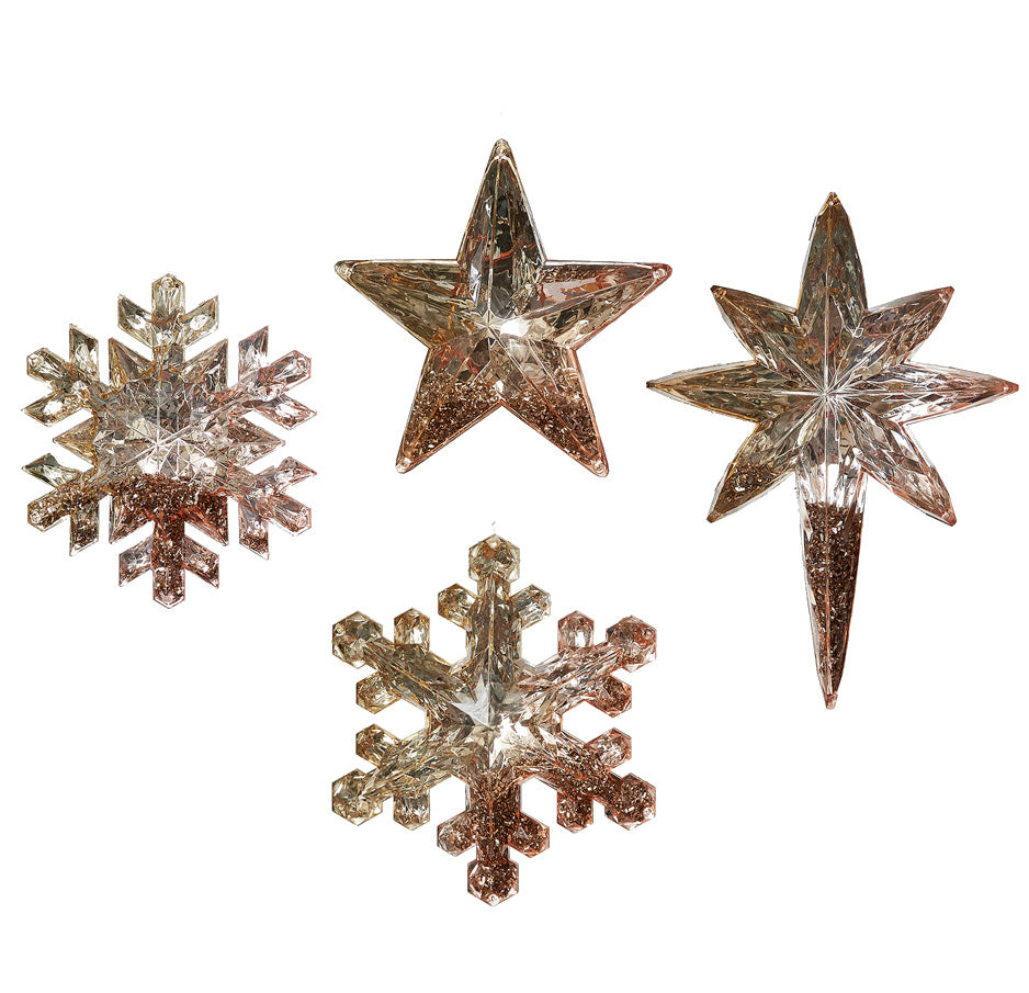 Glitter Filled Rose Gold Snowflake And Star Ornaments Bowl Fillers