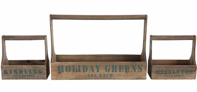 rustic wooden christmas totes - Xm Country Christmas