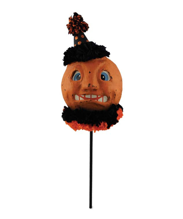 Sad Pumpkin Mask Vintage Style Paper Mache - Bethany Lowe Halloween Collection