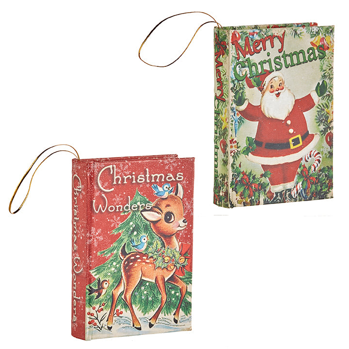 Retro Christmas Book Ornaments with Santa and Reindeer