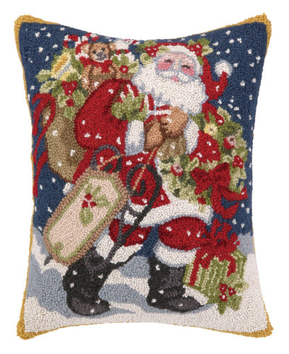 Santa Delivering Christmas Toys Hooked Pillow