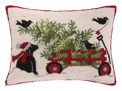 Black Lab with Christmas Tree Wagon Pillow by Mary Lake-Thompson