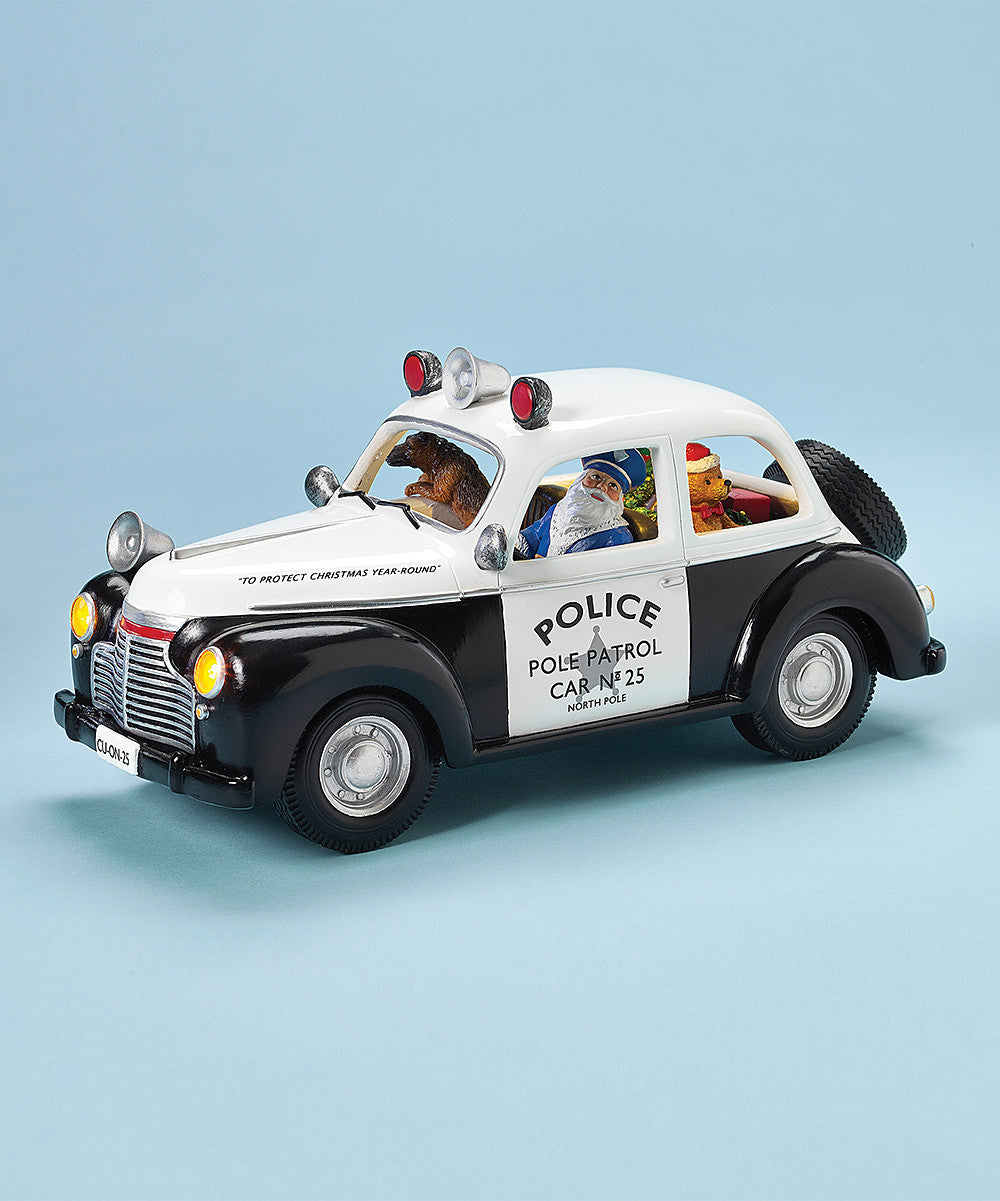 Santa Driving North Pole Retro Police Car with Dog & Teddy Bear in Tow - Christmas Music Box