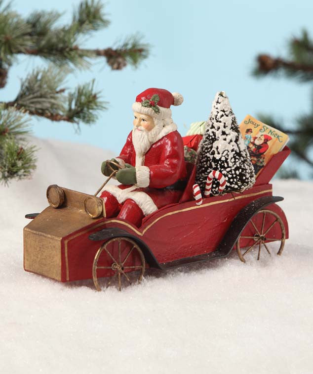 Santa in an Old Fashioned Car Figurine