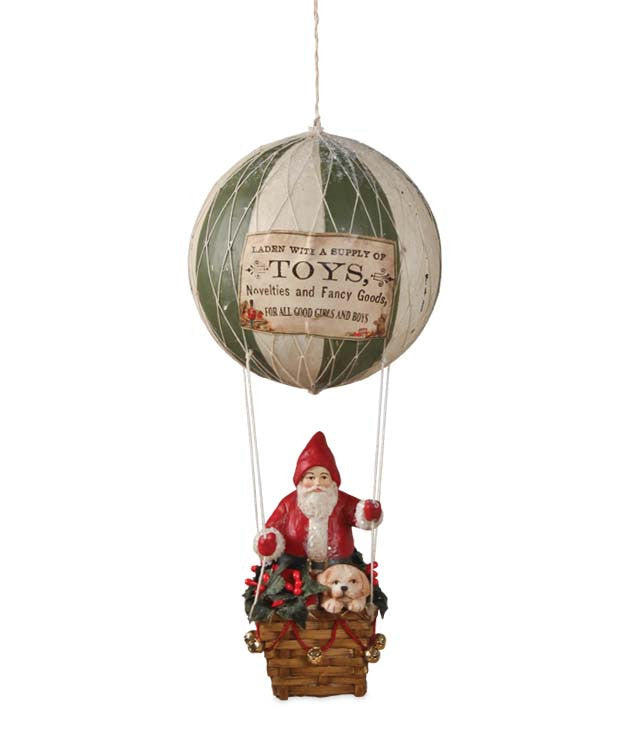 Santa in a Hot Air Balloon Ornament with Puppy Dog