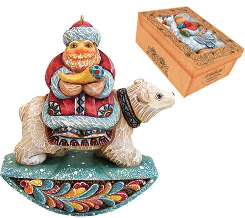 Santa on Polar Bear Ornament - G. Debrekht