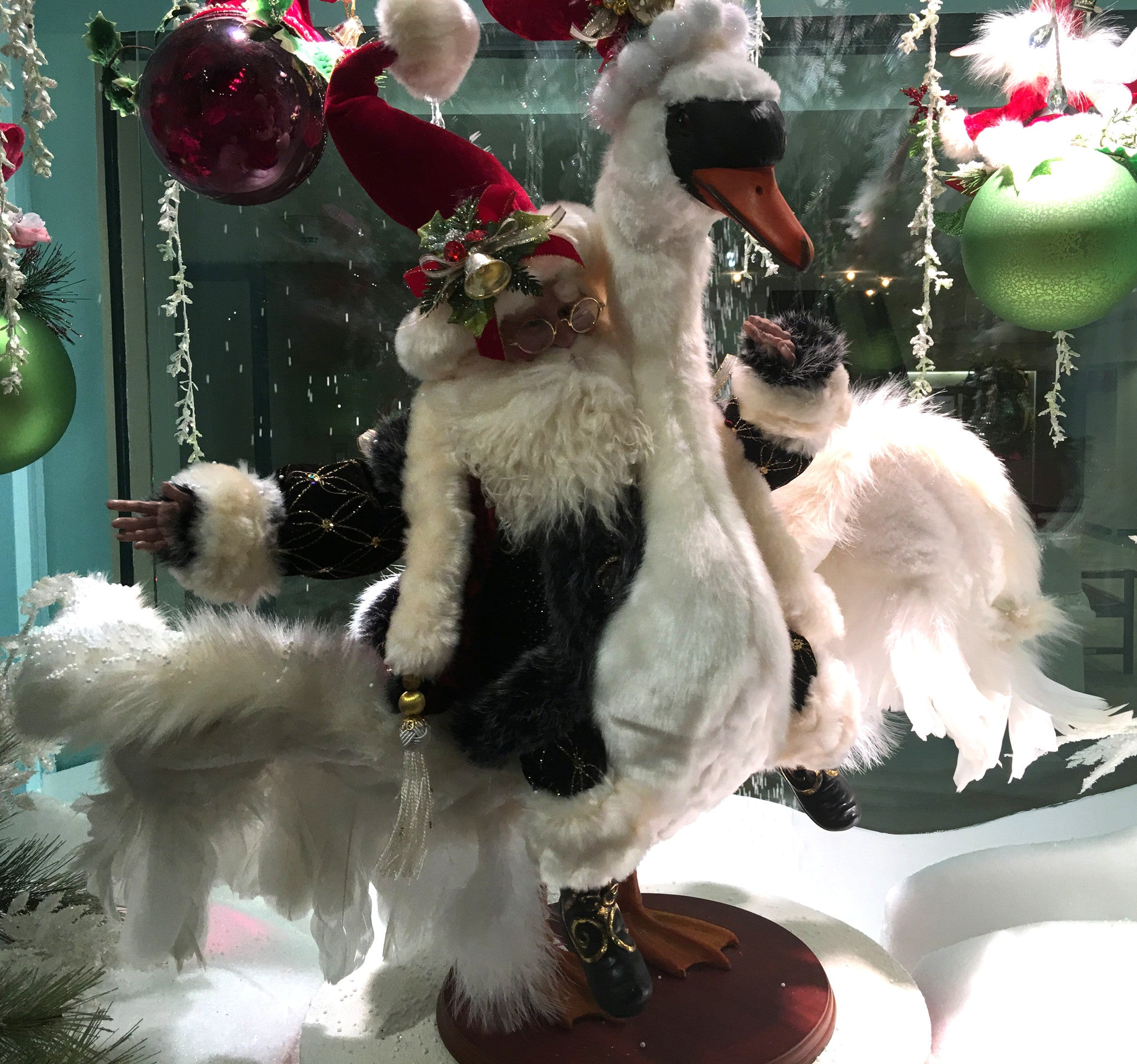 Santa Flying on Goose Christmas Display
