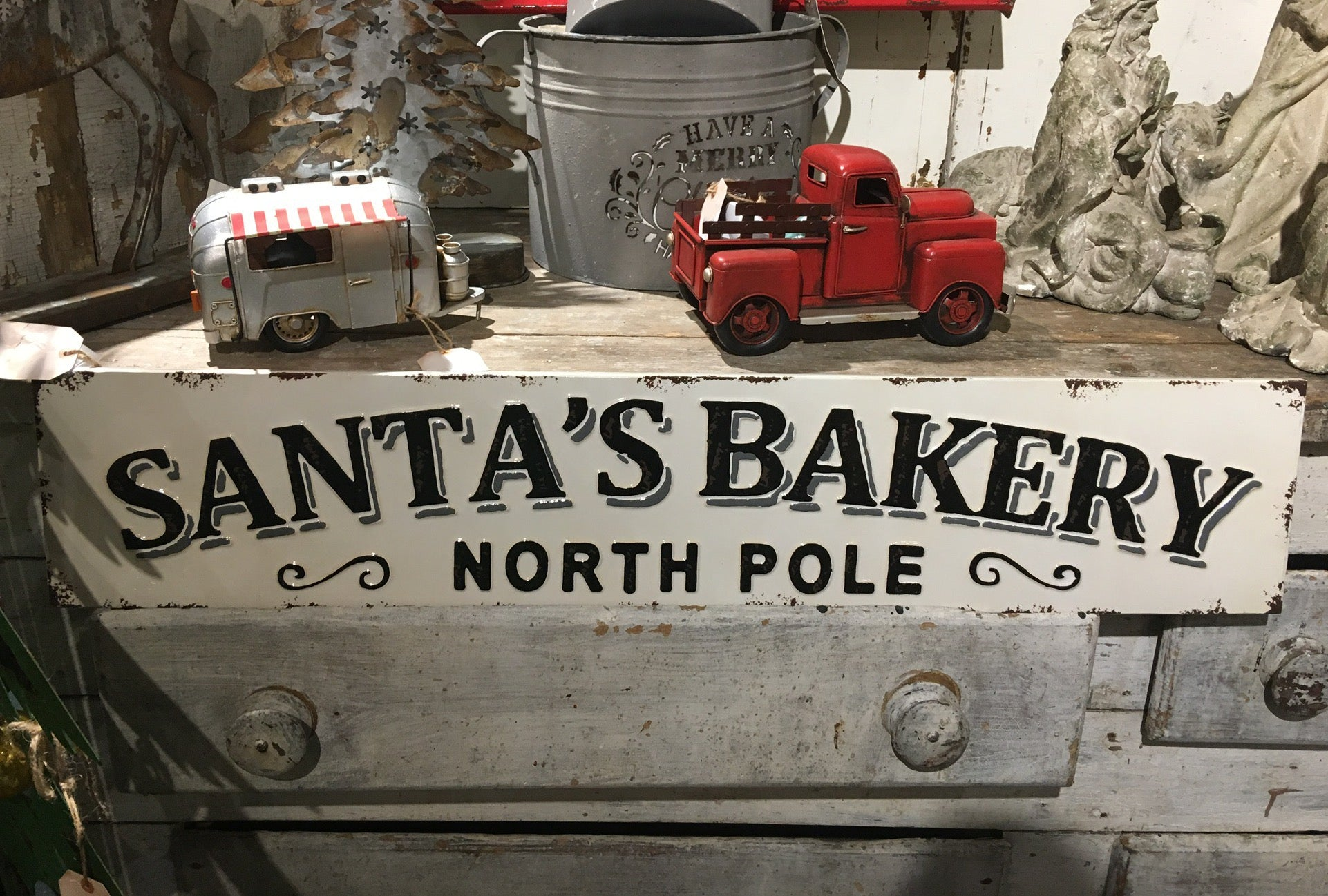 Santa's Bakery North Pole Metal Sign - Christmas Wall Decor