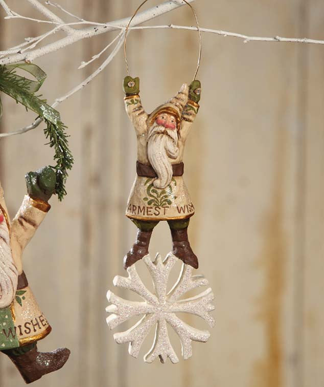 Santa Standing on Snowflake Ornament - Pam Schifferl