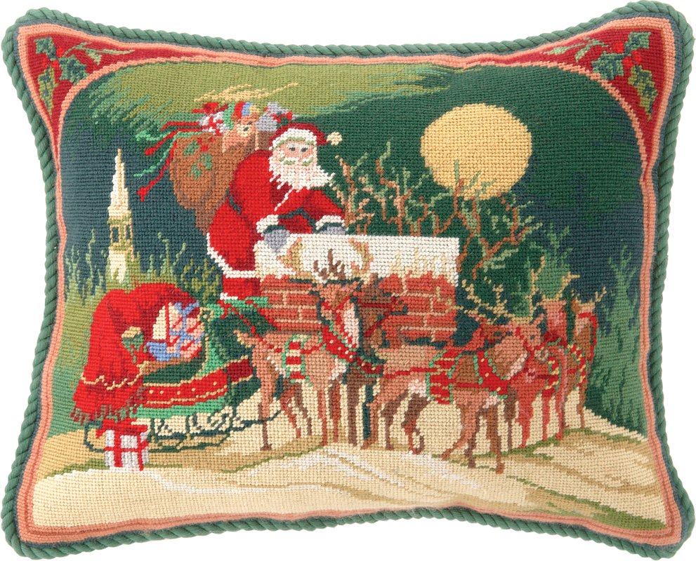 Santa Up On the Rooftop Needlepoint Pillow