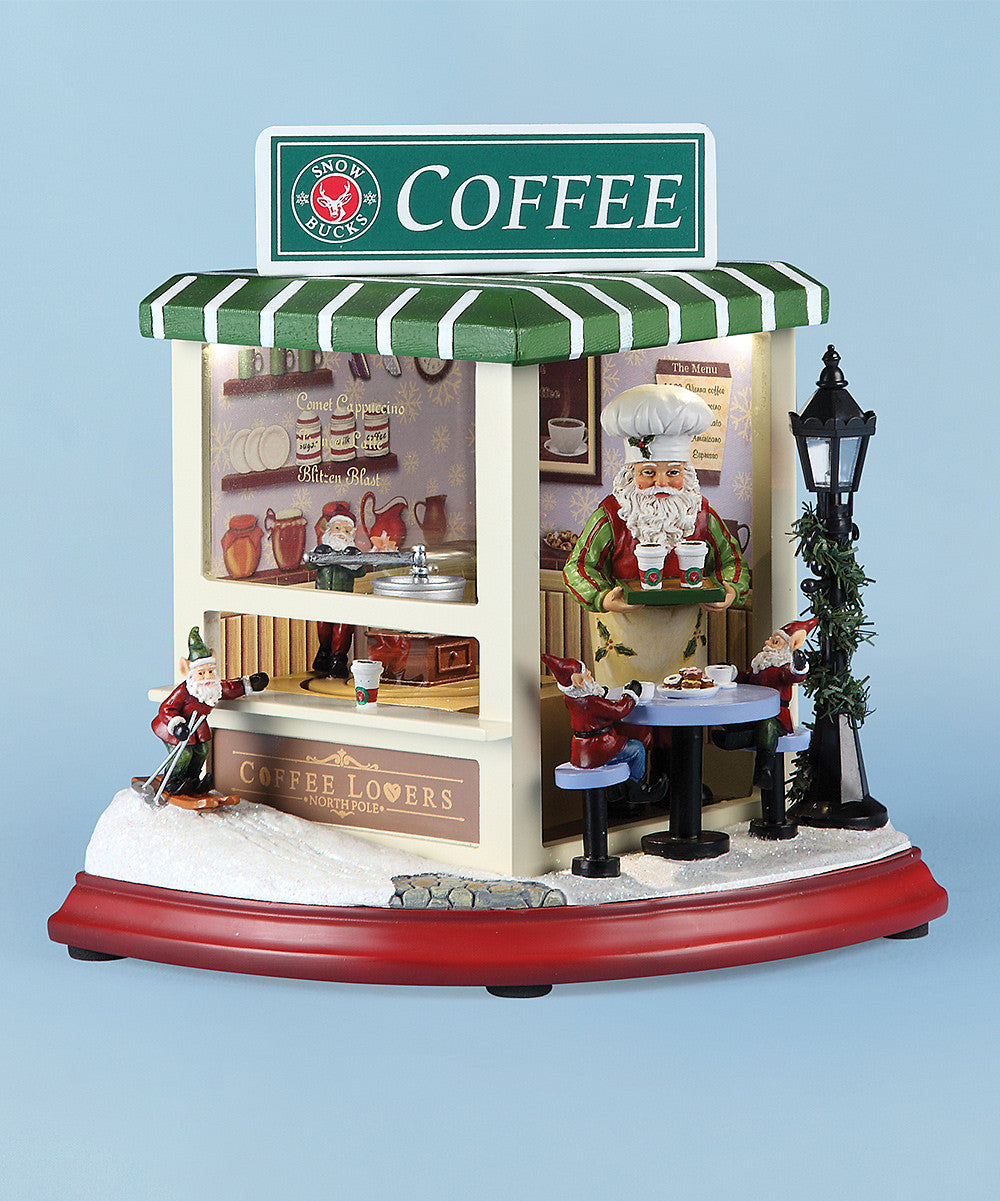 Santa's Coffee Shop Music Box with Motion & Lights