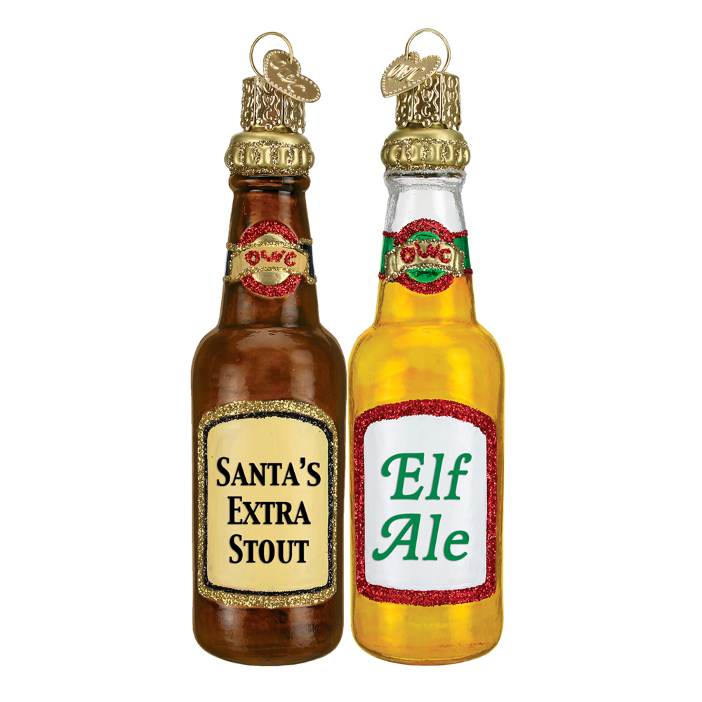 Santa's Extra Stout & Elf Ale Beer Bottle Ornaments