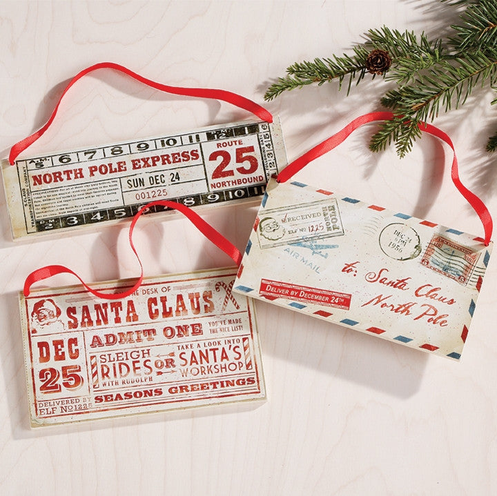 Santa's Letter & Ticket Ornaments