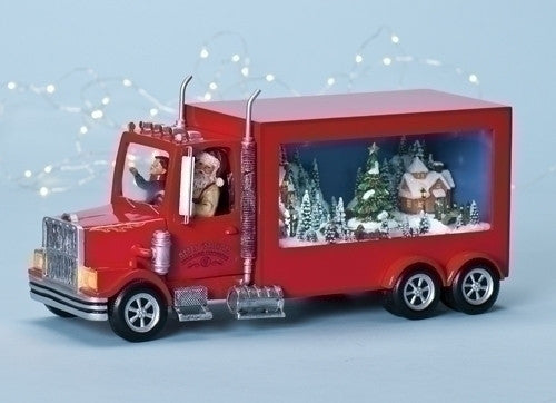 Santa's Red Tractor Trailer Christmas Delivery Music Box