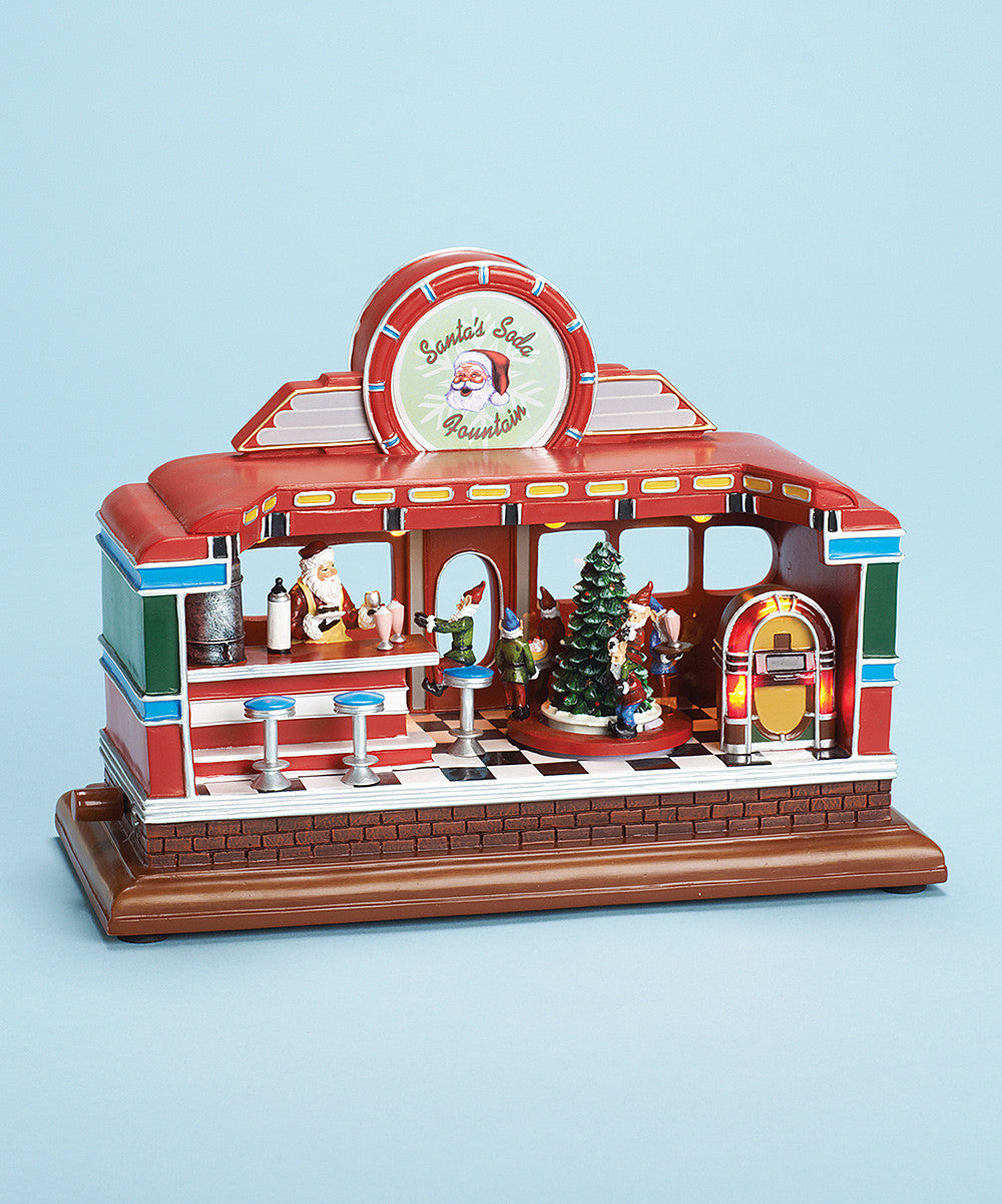 Santa's Soda Fountain Music Box - Christmas Music Boxes with Motion & Lights