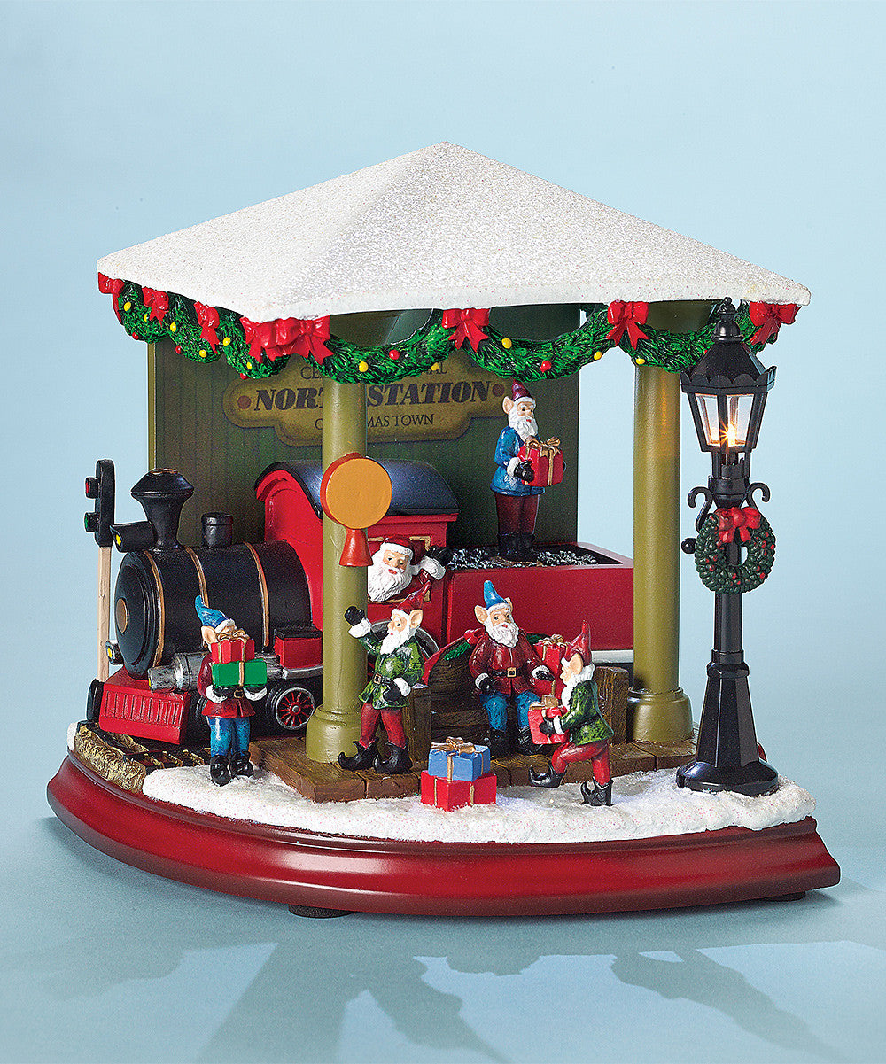 Santa's Train Station Music Box with Elves