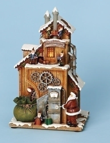 Santa's Workshop Music Box with Revolving Train. Lights Up Too.