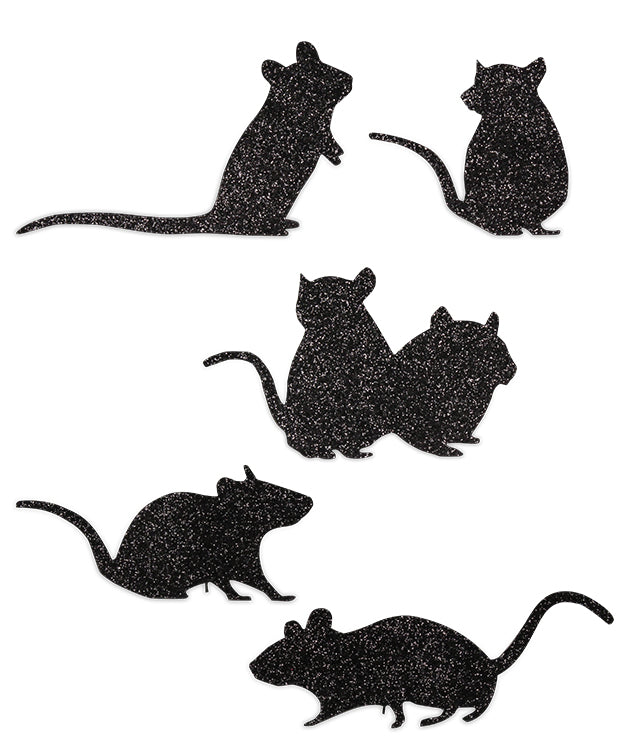 Scampering Mice Silhouettes made from glittered tin