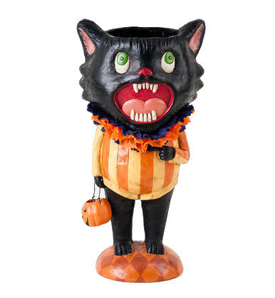 Screaming Cat Candy Container - Retro Halloween Figurine