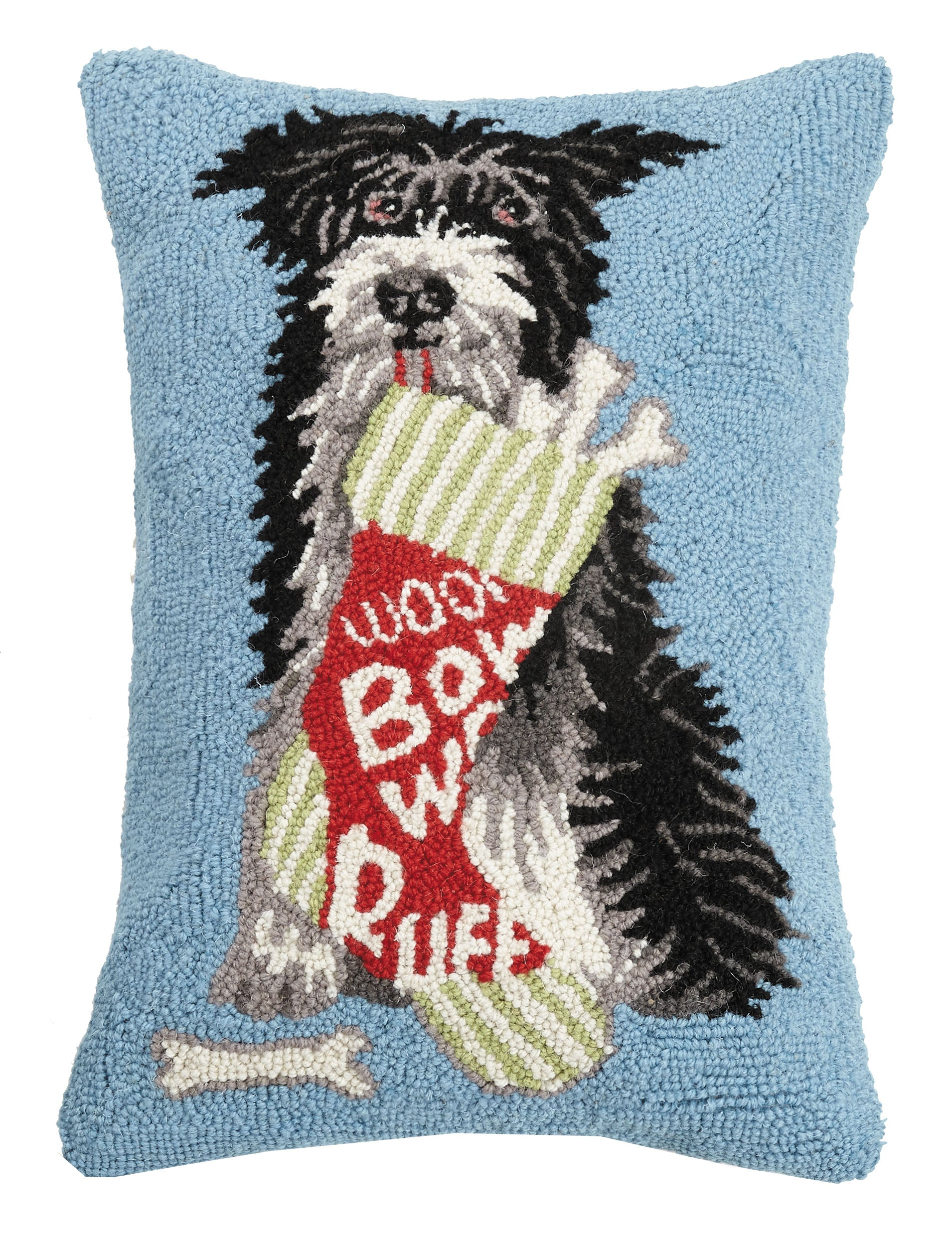 Scruffy's Christmas Stocking Treats Hooked Pillow