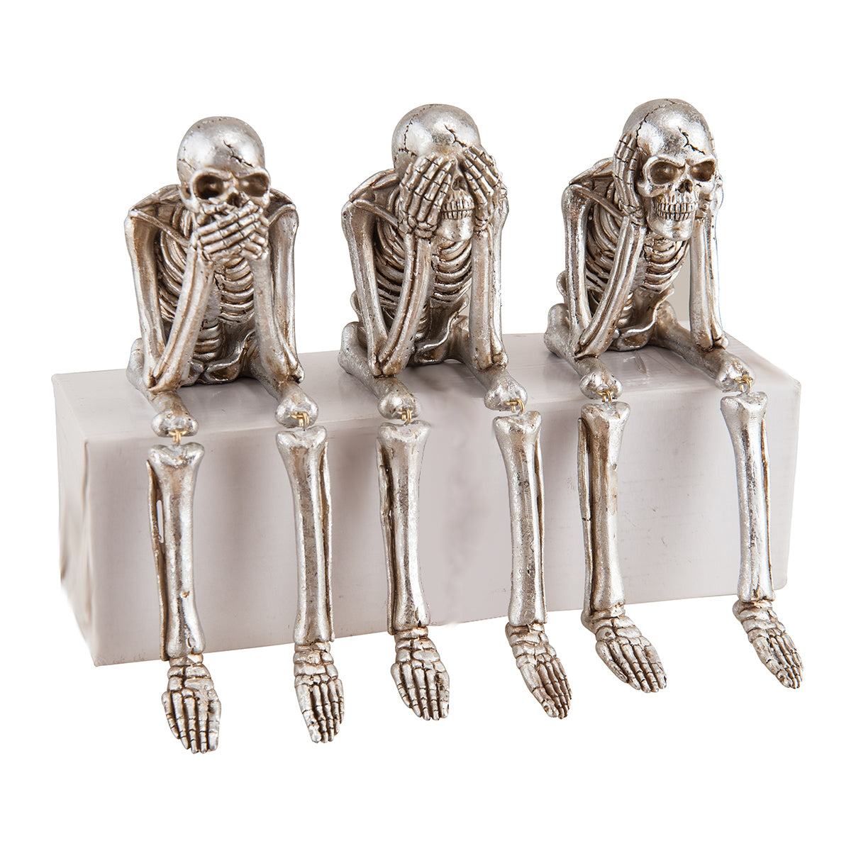 See No Evil, Hear No Evil, Speak No Evil Silver Skeleton Figurines