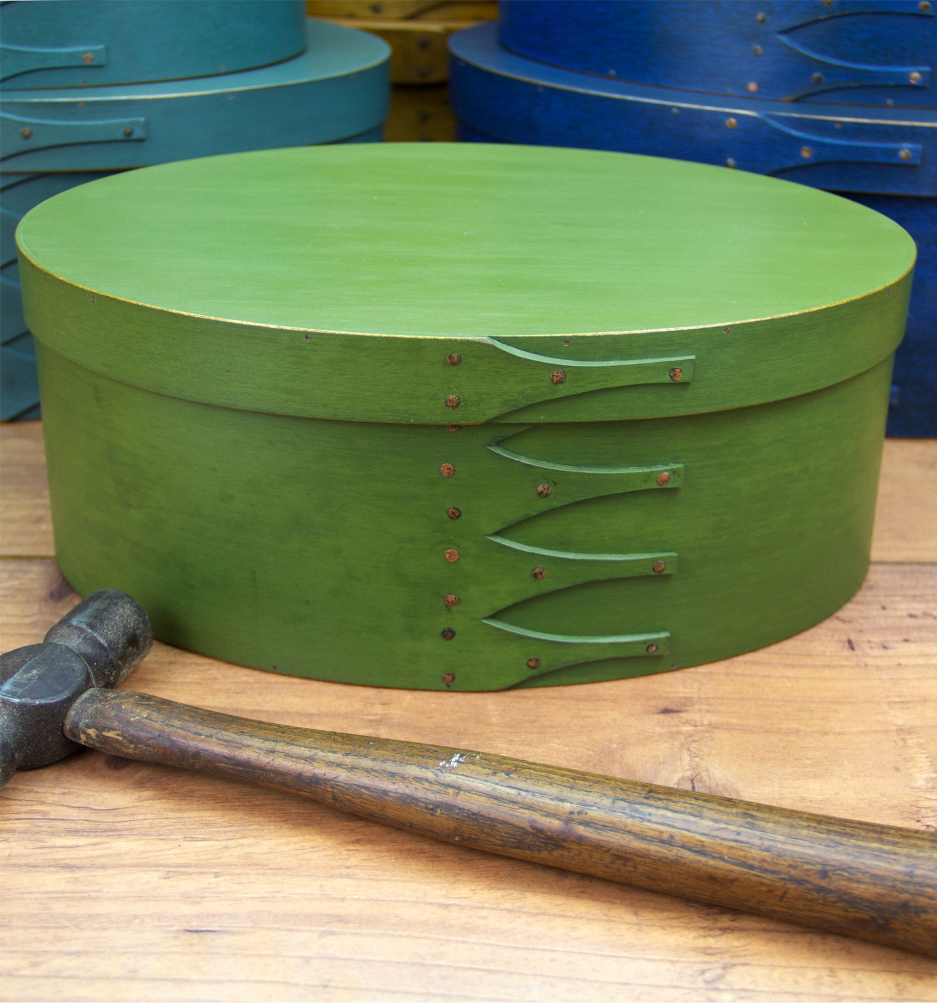 Shaker Box Painted with Green Milk Paint - Made in Maine