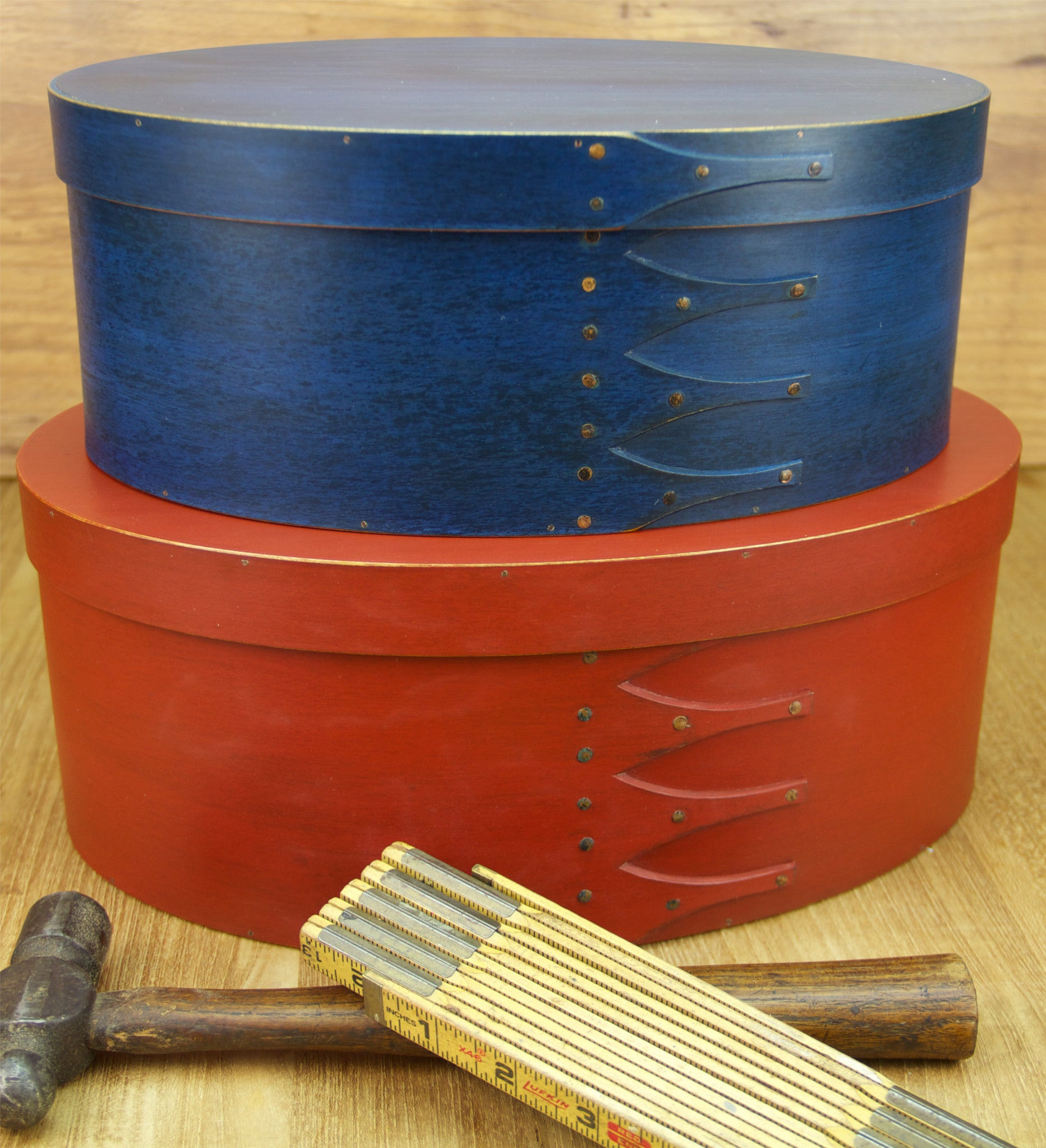 Stack of Red & Blue Shaker Boxes