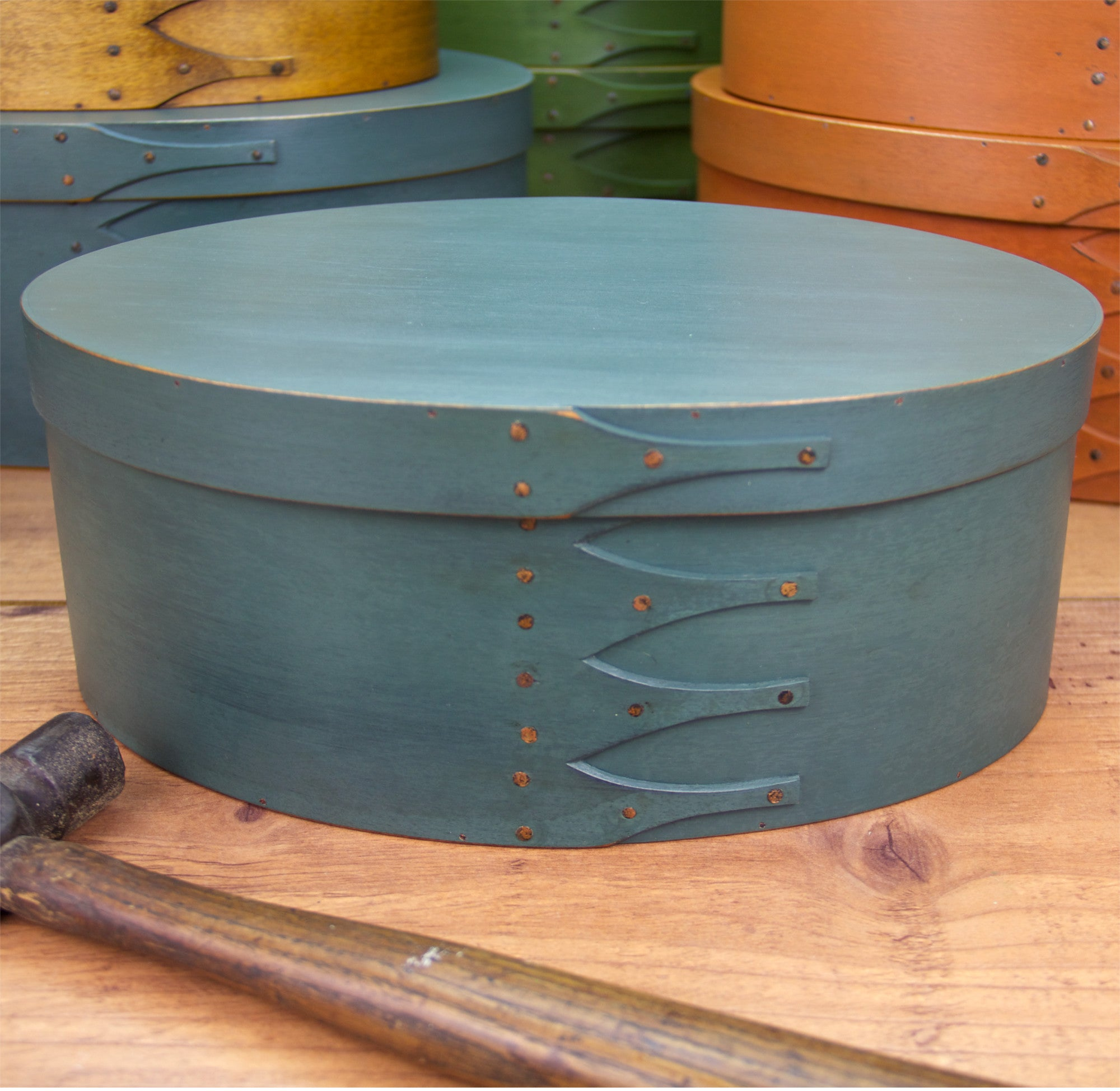 Shaker Box Painted with Sea Green Milk Paint