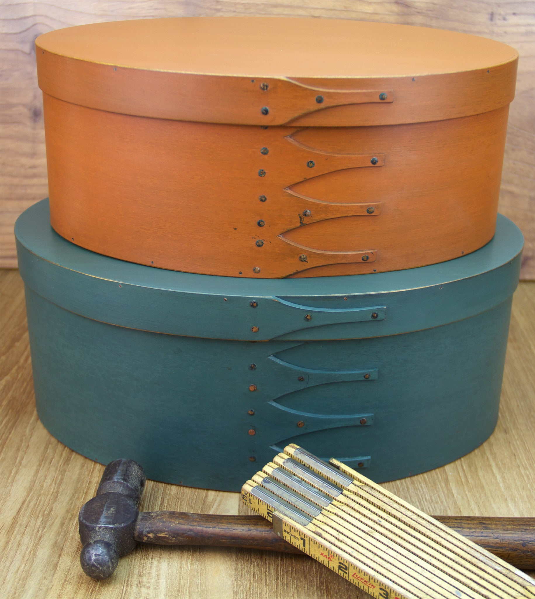 Stack of Shaker Boxes with Pumpkin Orange and Sea Green Milk Paints