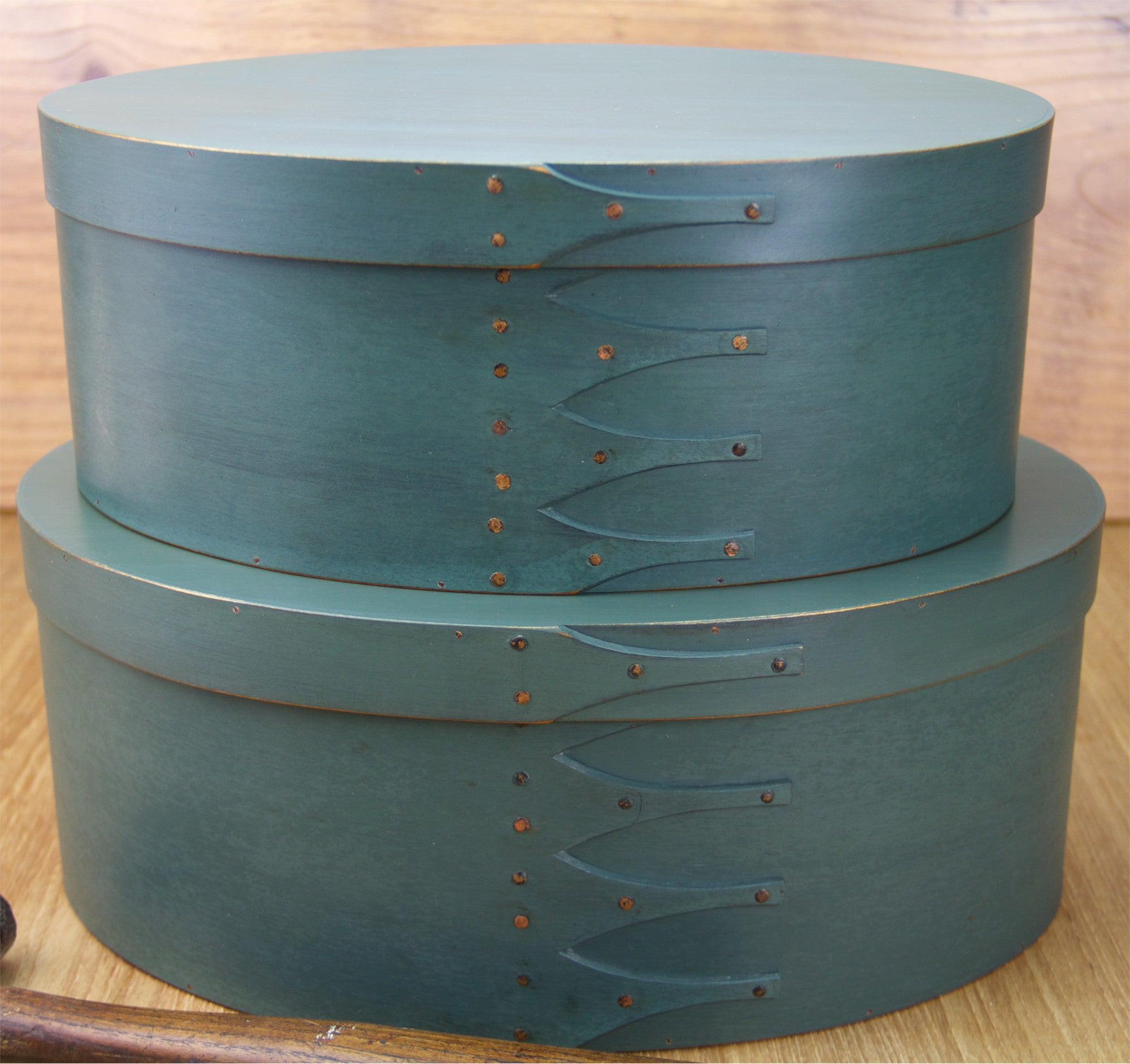 Stack of Oval Shaker Nesting Boxes Painted with Sea Green Milk Paint