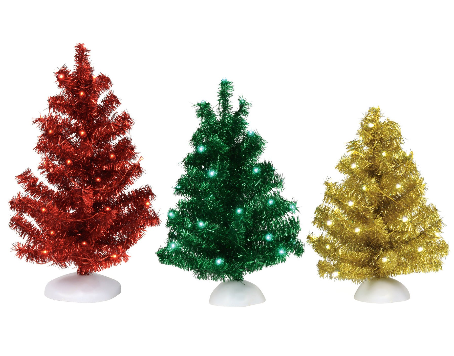 Shiny & Bright Lighted Tinsel Tree Set