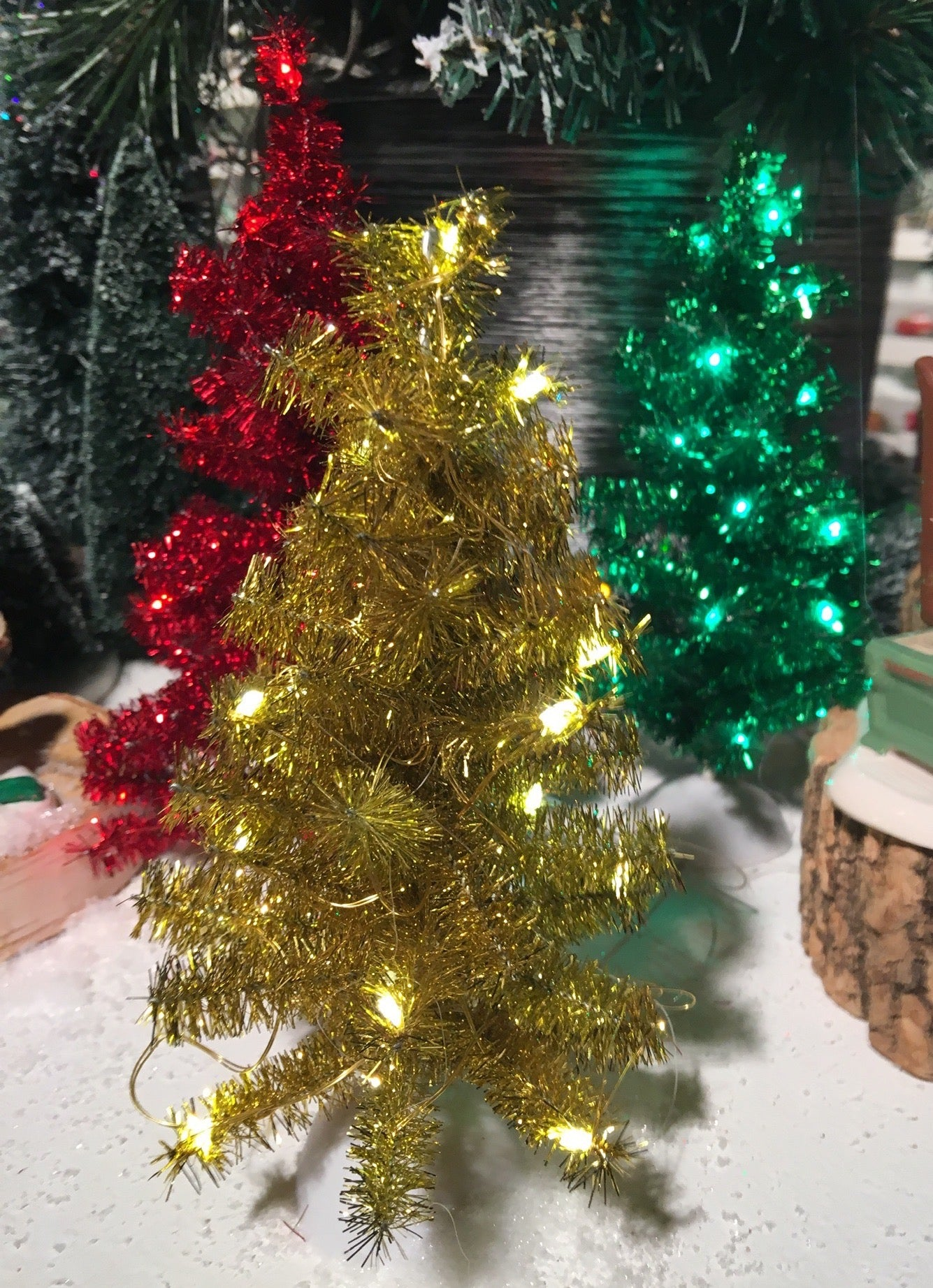 Tinsel Trees with Lights, Red, Green, Gold