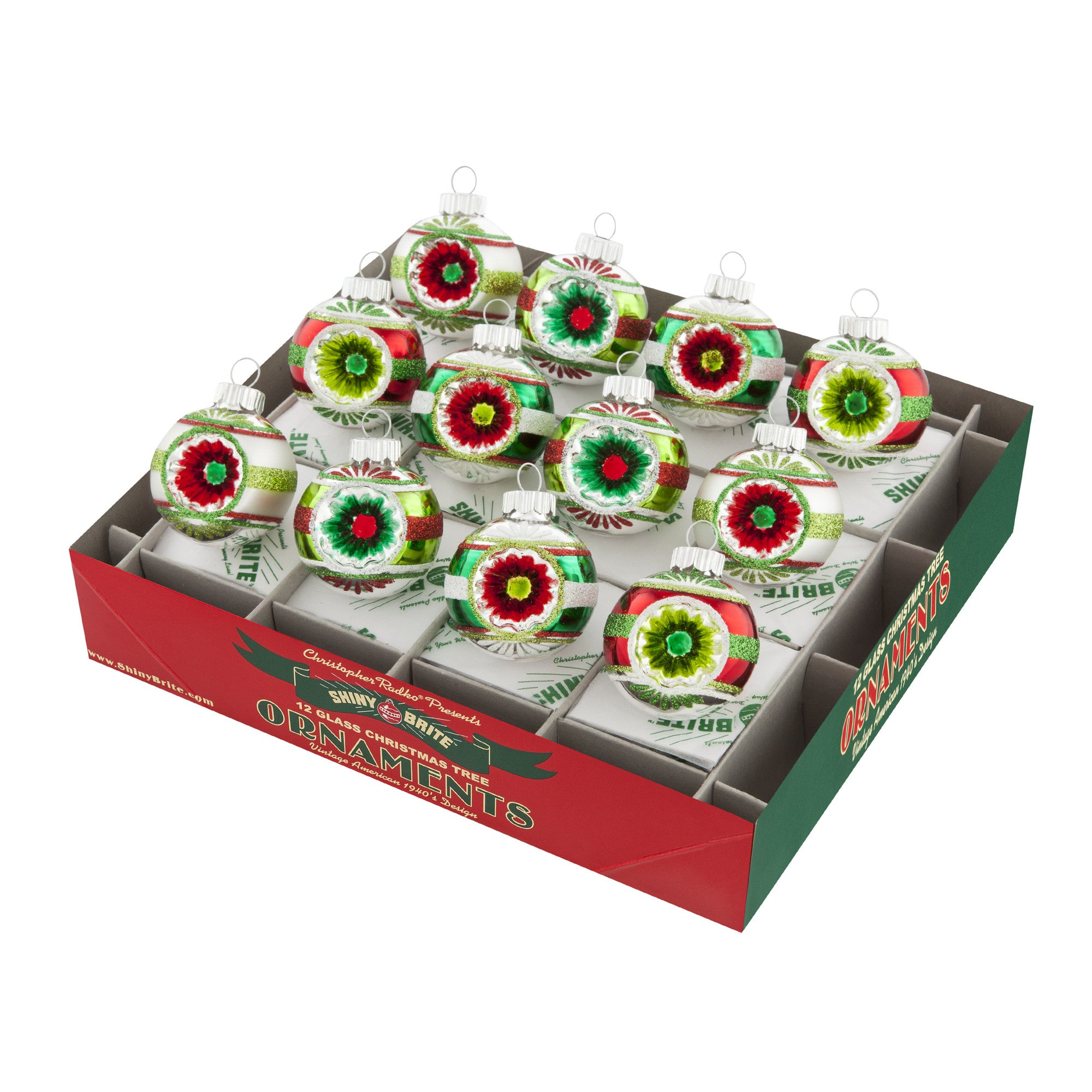 Shiny Brite Holiday Splendor Round Ornaments with Reflectors - 1.75""