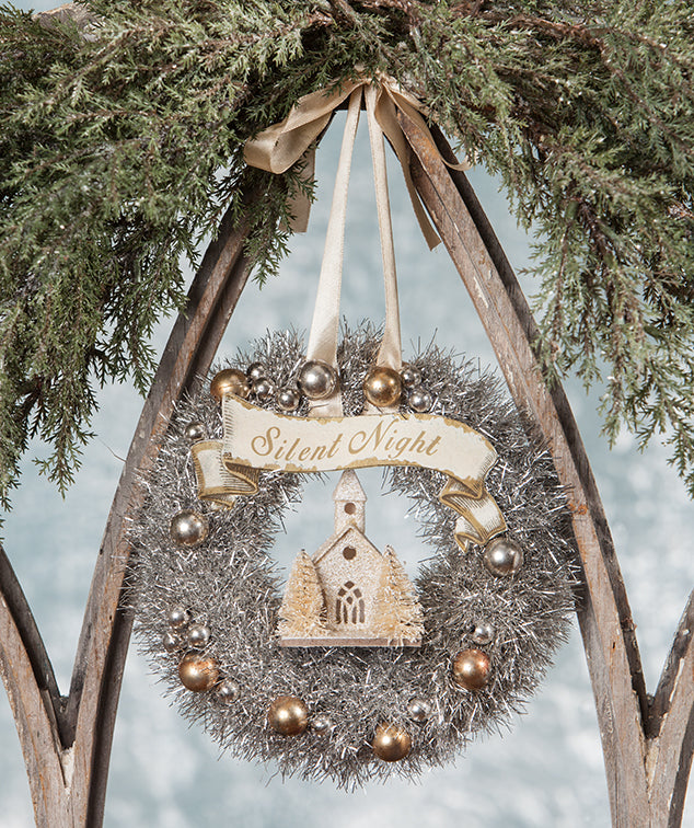 Silent Night Tinsel Wreath with Church - Putz Church - Bethany Lowe