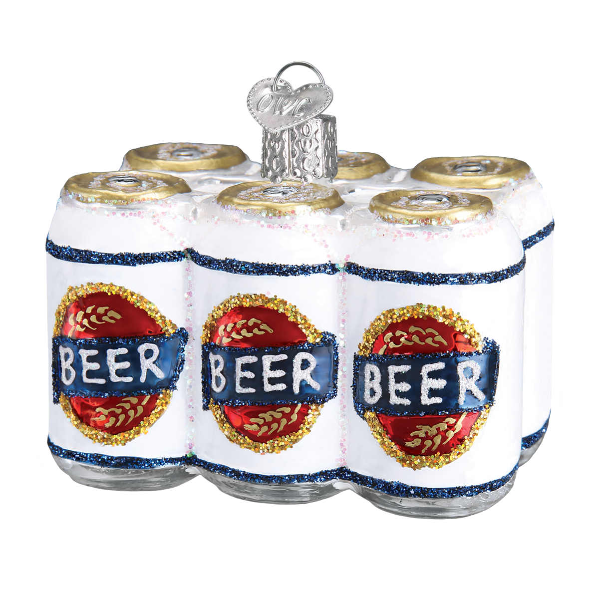 Six Pack of Beer Ornament, Glass Christmas Ornaments
