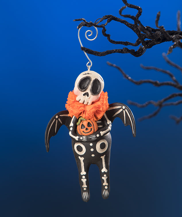 Skeleton Bat Halloween Ornament