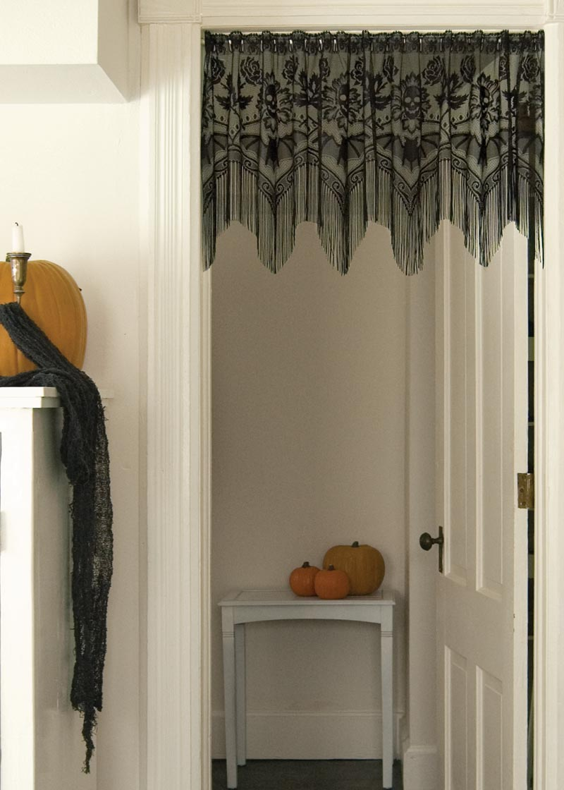 Halloween Doorway with Skull & Roses Black Lace Fringe Valance