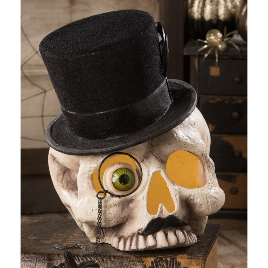 Skull in Top Hat and Monocle with Mustache