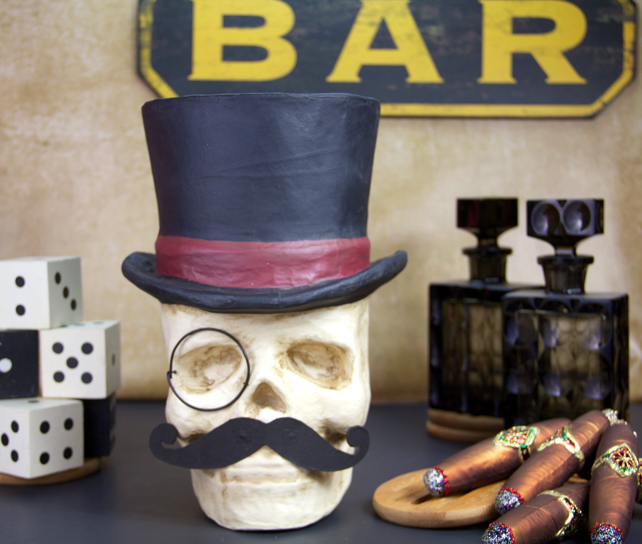 d5a207d642a Top Hat Skull with Monocle   Mustache Candy Bucket - TheHolidayBarn.com