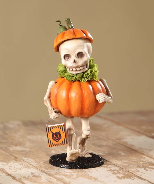 Skully's Pumpkin Costume - Skeleton Figurine by Bethany Lowe
